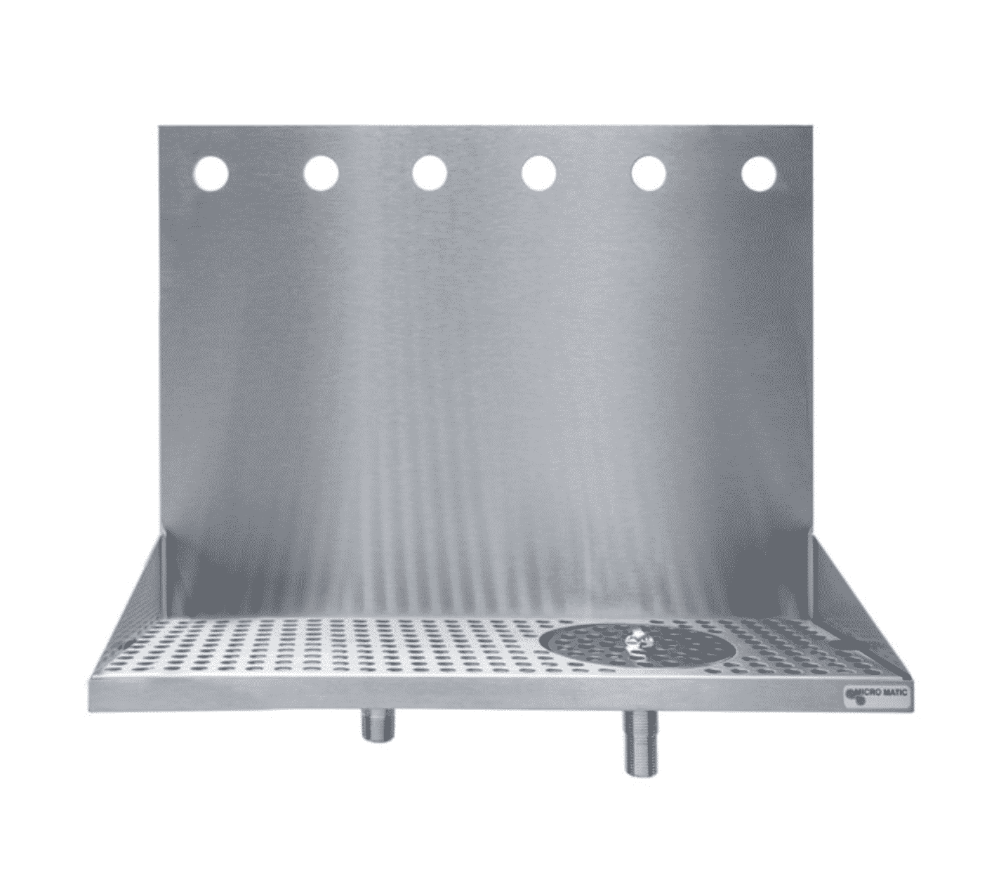 6 Faucet Stainless Steel Wall Mount Drip Tray with Glass Rinser