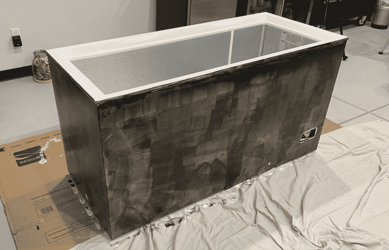 Chest Freezer with One Coat of Chalkboard Paint
